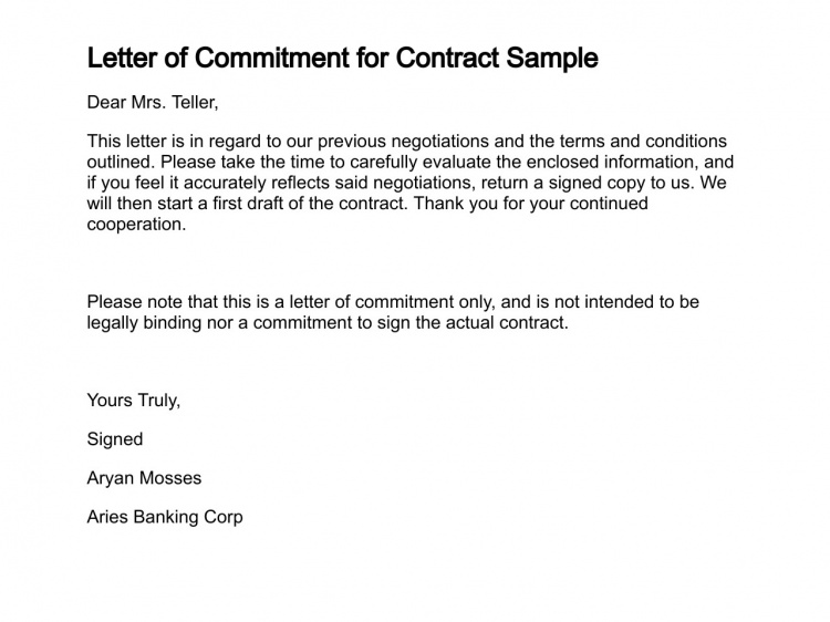 Letter Of Commitment For Contract Sample Types Of