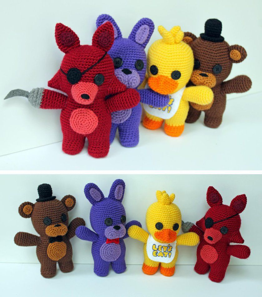 How to make your own five nights at freddys foxy plush - Video Game Crochet Patterns Five Nights At Freddy S Plushies