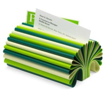 Business card holder. Make use of all of our extra fabric samples ha!