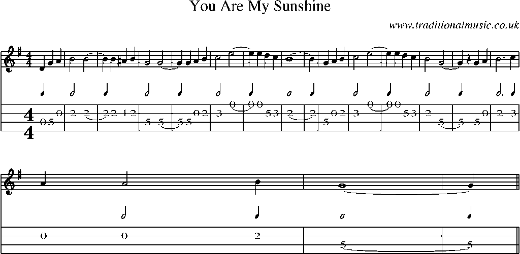 Mandolin Tab And Sheet Music For You Are My Sunshine Guitar