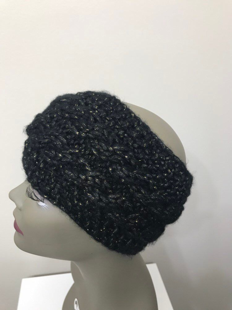 64d8e0ac6 Black hand knit headband - Knitted women ear warmer - Black with ...