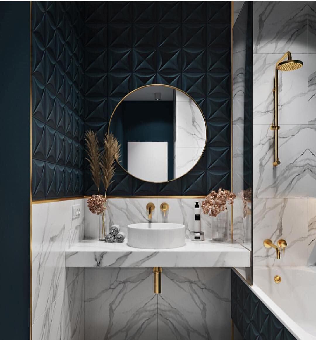Full Time Design On Instagram When Midnight Blue And Marble Collide Korolev Design Ashleytst Bathroom Interior Design Bathroom Design Gorgeous Bathroom