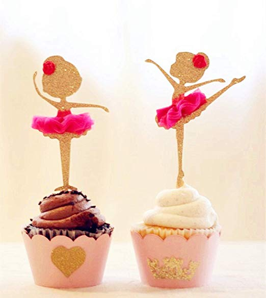 12PCS Ballerina Cupcake Toppers Cake Picks for Shower Party Supplies