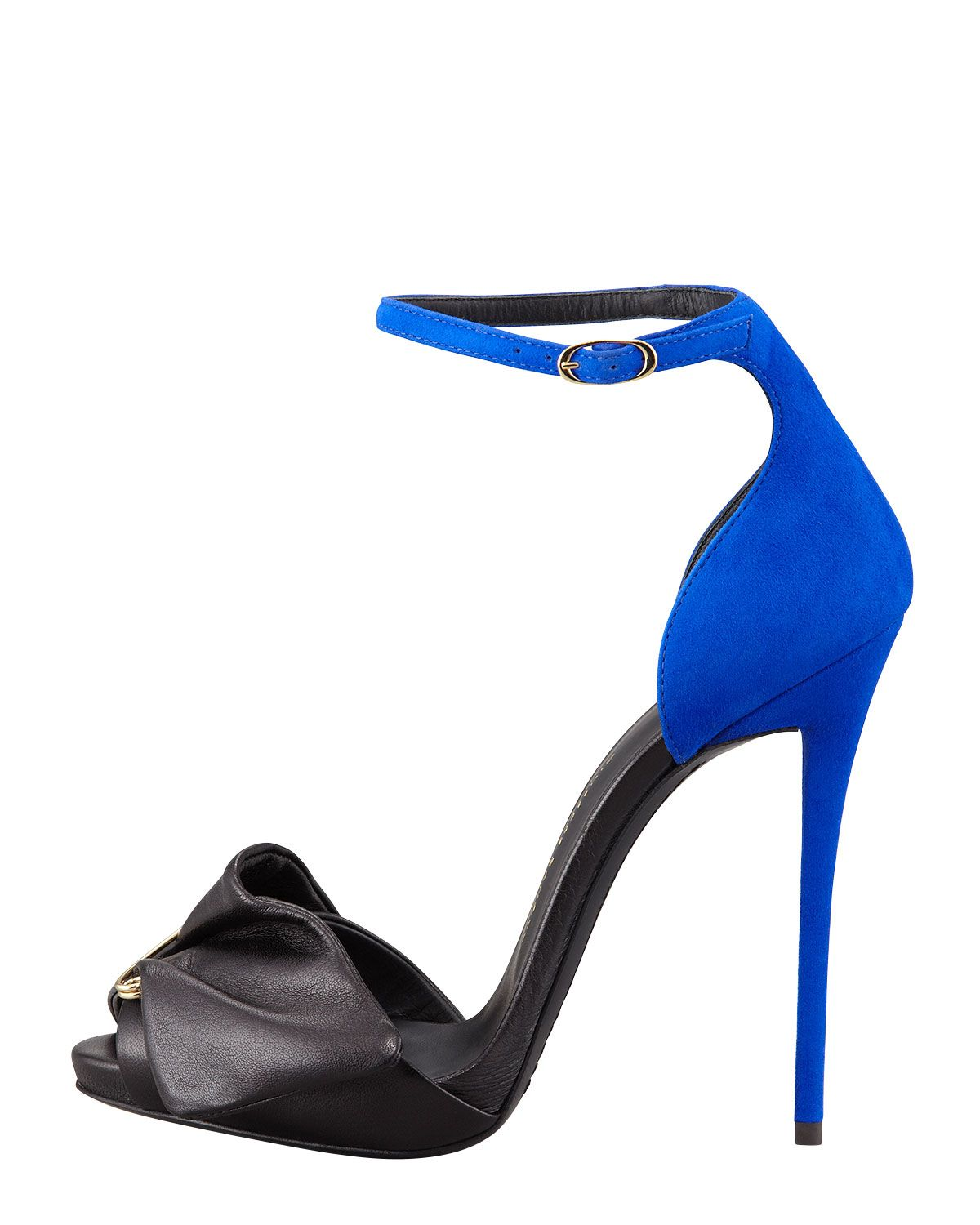 7bf948d4d0b85 Giuseppe Zanotti Safety Pin Leather & Suede Sandal, Black/Blue - Neiman  Marcus