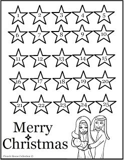 Religious Advent Calendar printable- color in a star each
