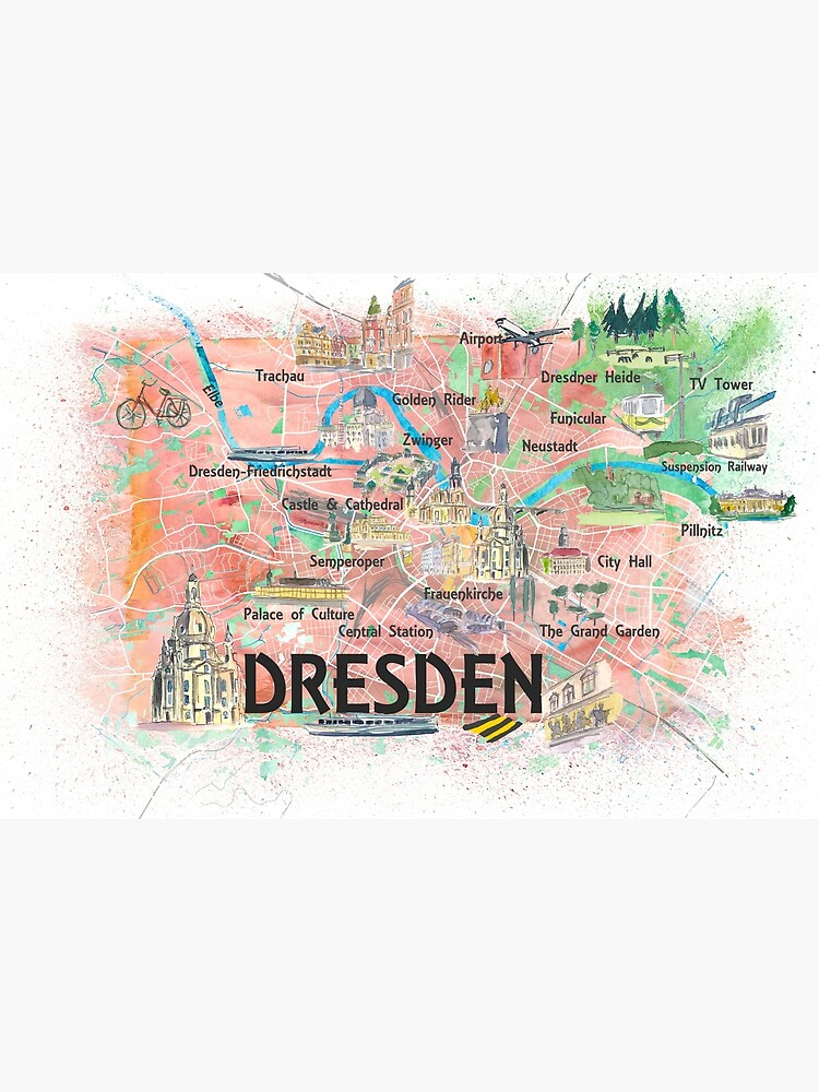 Dresden Saxony Germany Illustrated Map With Main Roads Landmarks And Highlights Canvas Print By Artshop77 In 2020 Illustrated Map Canvas Prints Dresden