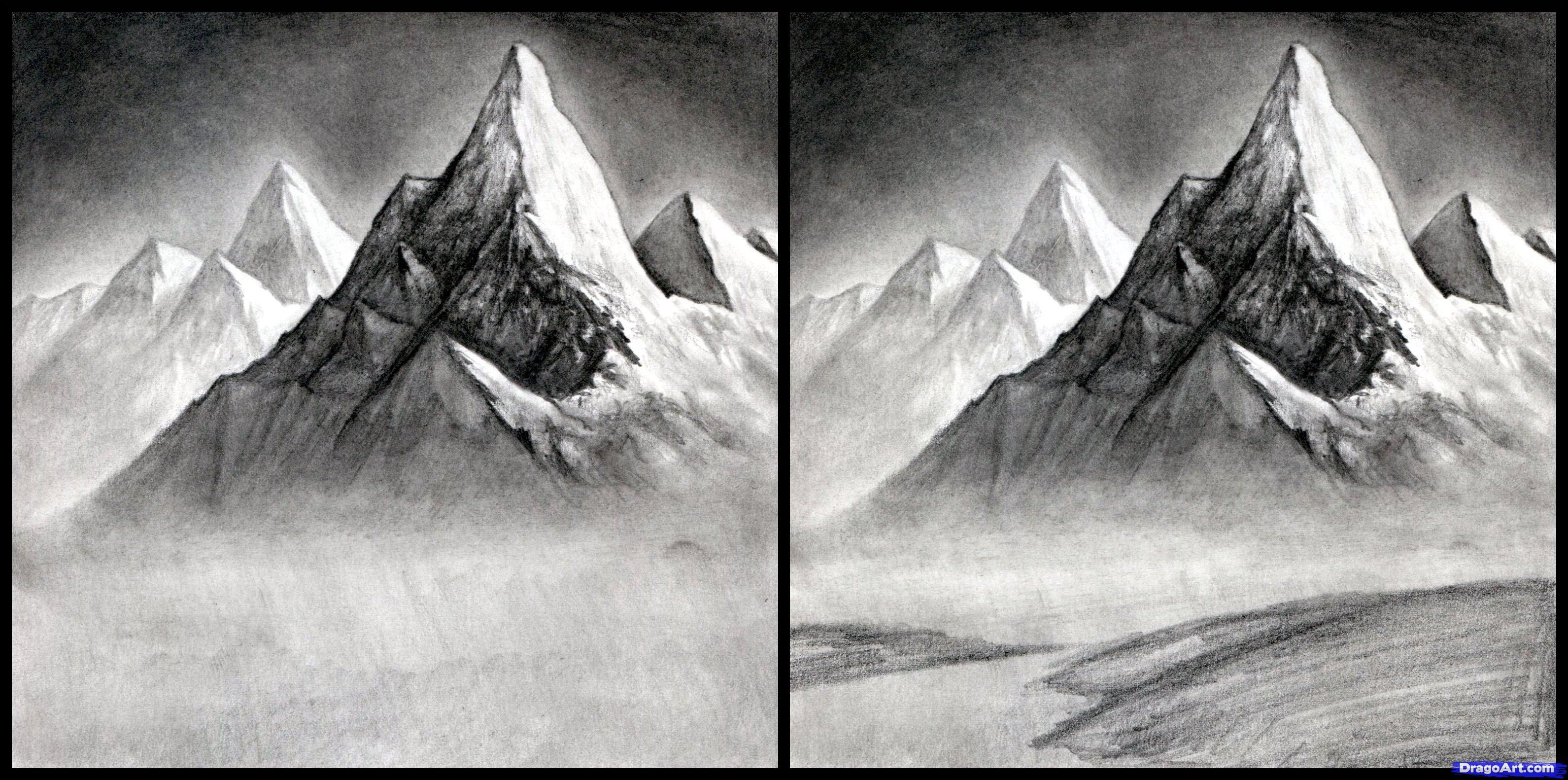 easy mountain landscape drawing. how to draw a realistic landscape mountains step 13 easy mountain drawing