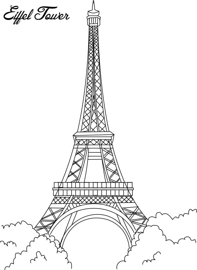 awesome eiffel tower coloring printable page for kids pages of
