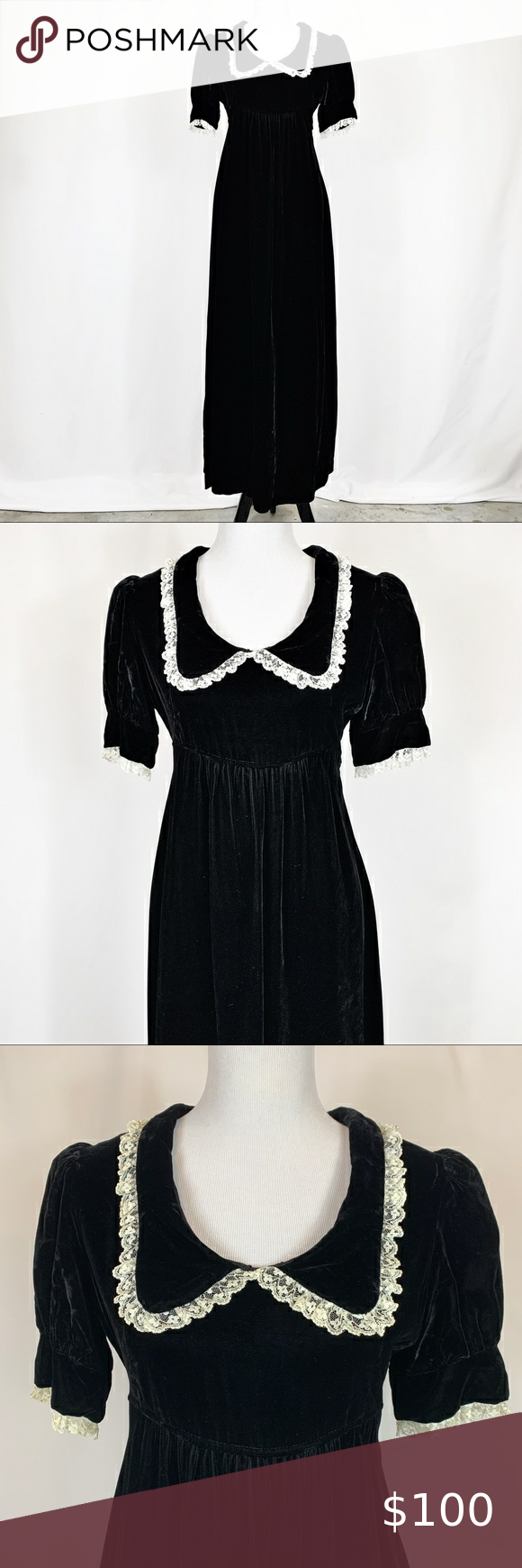 Vintage 70s Black Velvet Empire Maxi Dress L Empire Maxi Dress Maxi Dress Clothes Design [ 1740 x 580 Pixel ]
