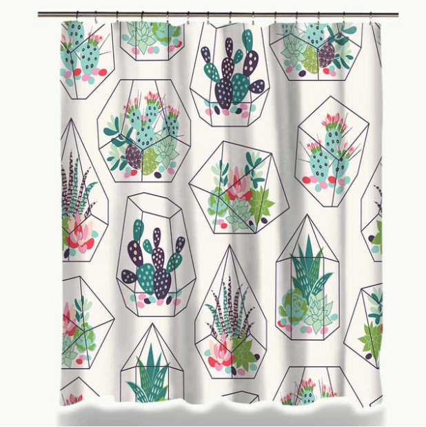 Ambesonne Succulent Shower Curtain By Summer Vintage Floral