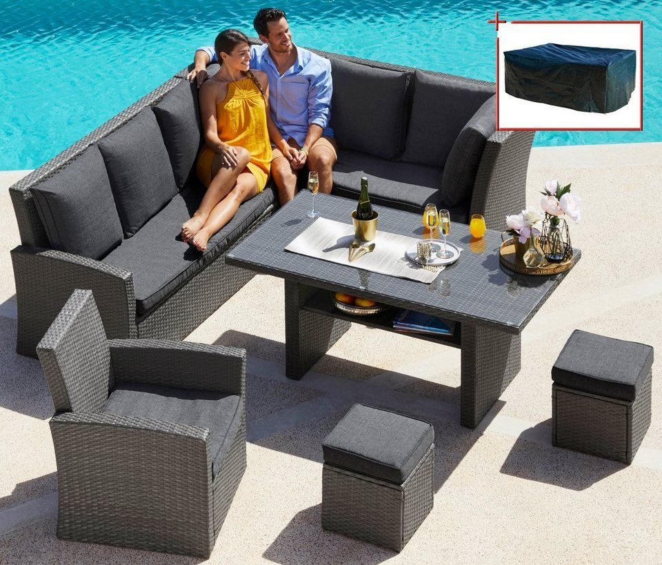 Loungeset »Santorini Premium«, 20-tlg Eckbank, Sessel, 2 Hocker - gartenmobel polyrattan eckbank