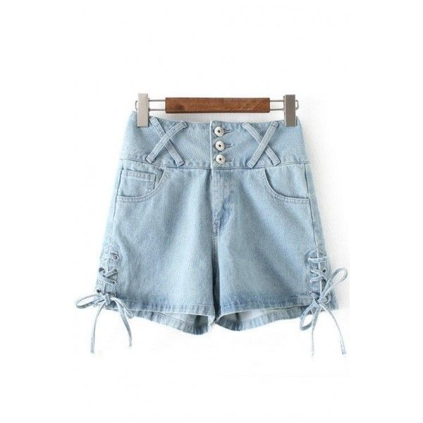 Summer's High Waist Buttons Down Lace Up Side Denim Shorts Hot Pants ($31) ❤ liked on Polyvore featuring shorts, denim shorts, mini shorts, summer shorts, high-waisted shorts and short shorts