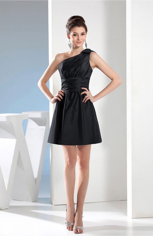 4a935cf65bc Black Bridesmaid Dress - Simple A-line One Shoulder Mini Short Pleated