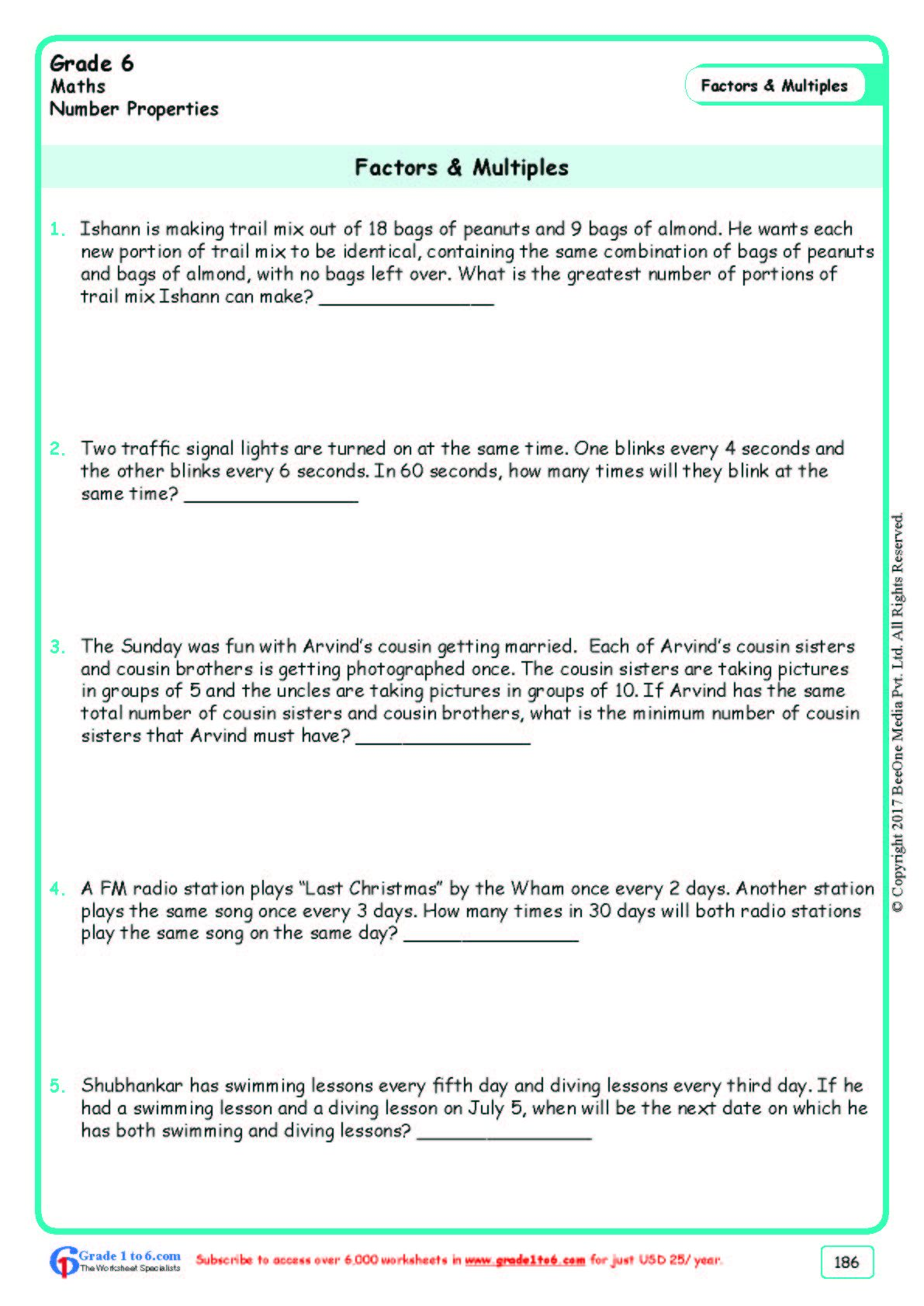 Worksheet Grade 6 Math Factors Amp Multiples In