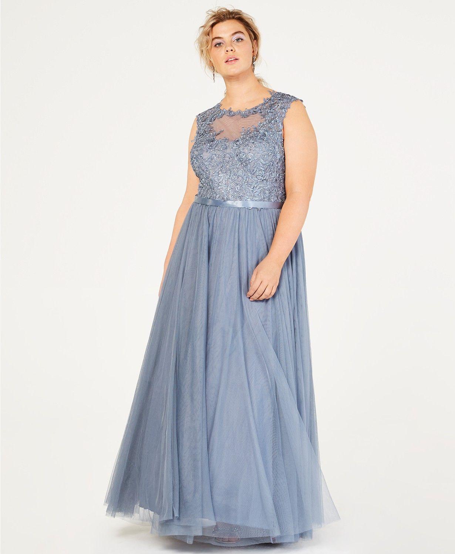 City studios trendy plus size sparkle lace tulle gown