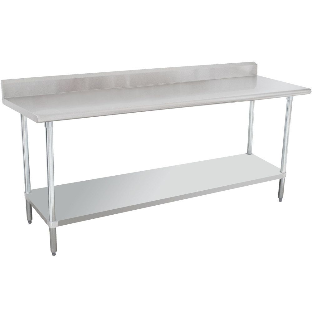 16 Gauge Advance Tabco Klag 247 X 24 X 84 Stainless Steel Work Table With 5 Backsplash And Galvanized Undershelf Stainless Steel Work Table Work Table Advance Tabco