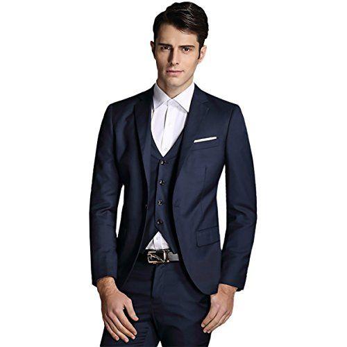 Men Notch Lapel Modern Fit Suit Blazer Jacket Tux Vest & Trousers ...