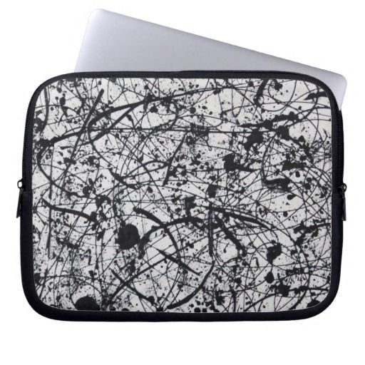 """BLACK ON WHITE"" laptop sleeve.  Available in 3 sizes - 10"" 13"" 15"""