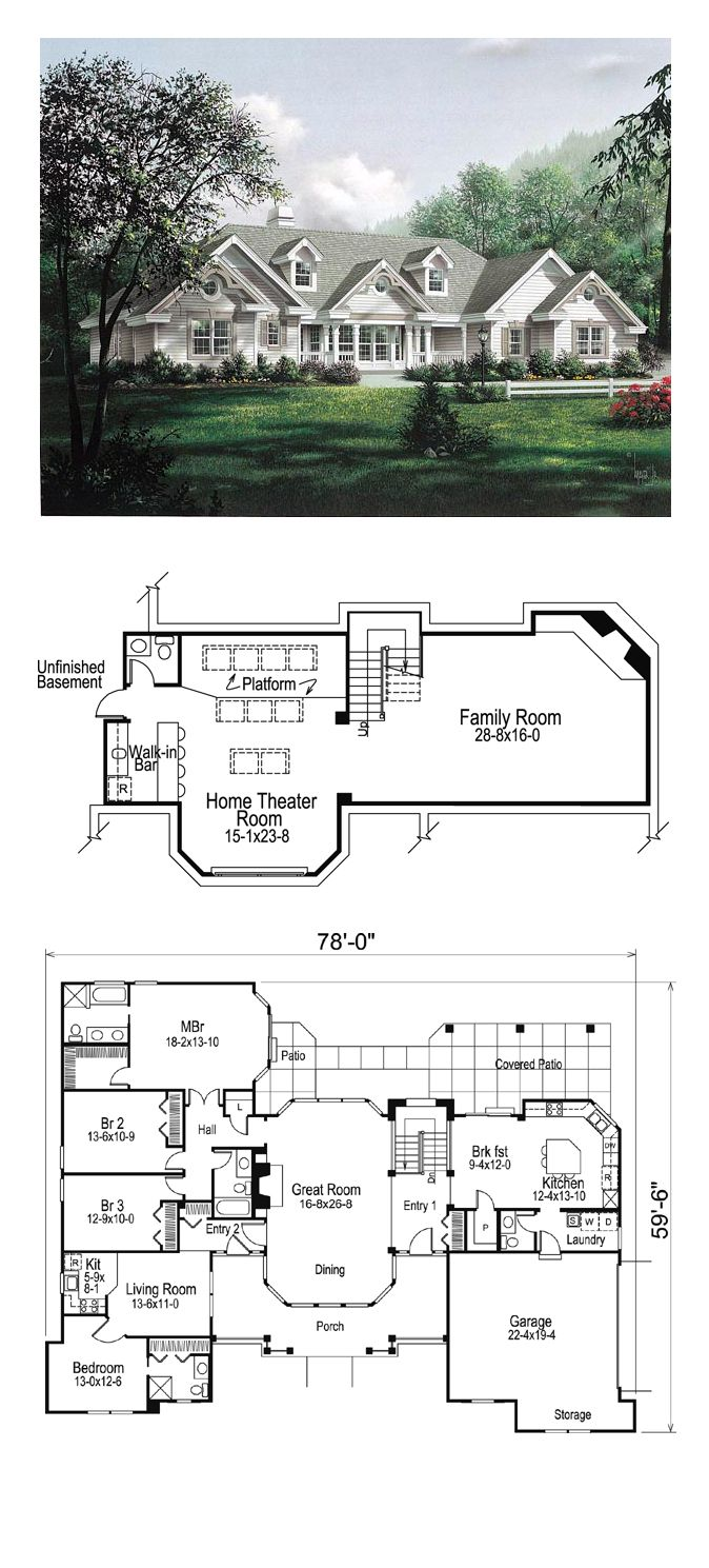 Country ranch southern traditional victorian house plan Basement in law suite floor plans