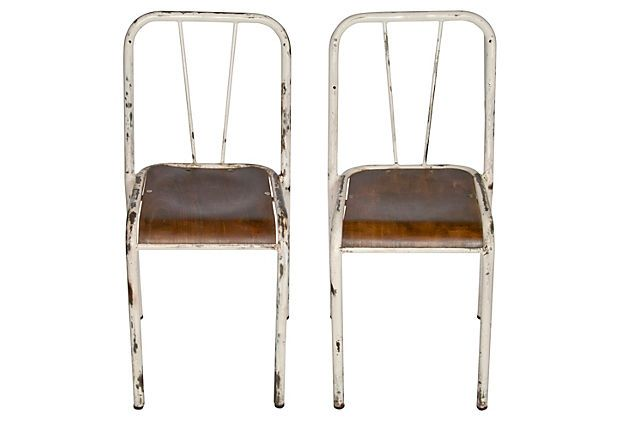 French Industrial Stacking Chairs, Pair on OneKingsLane.com