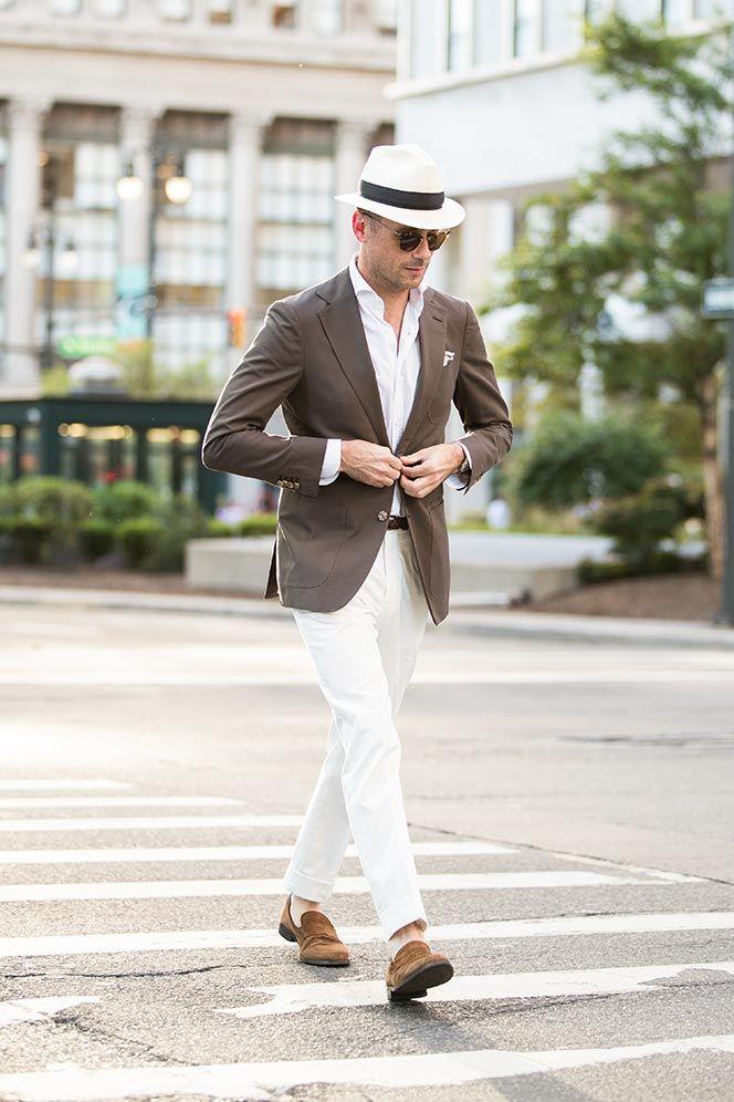 5 Ways To Wear a Brown Cotton Suit   White pants men, Summer