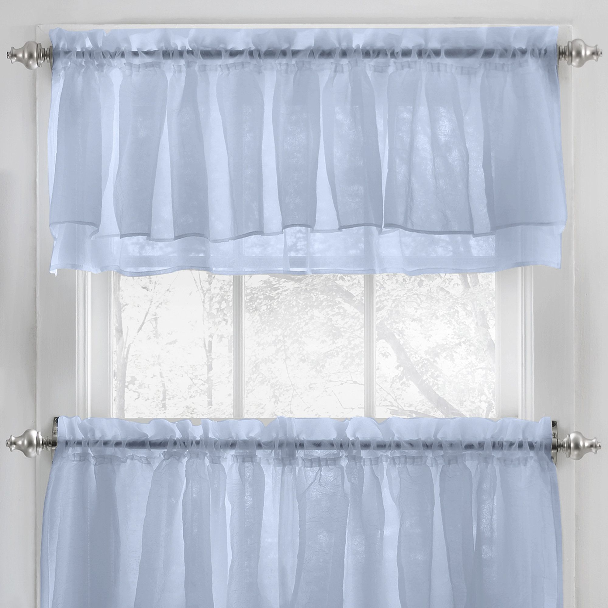 Elegant Crushed Voile Ruffle Kitchen Window Curtain Valance ...