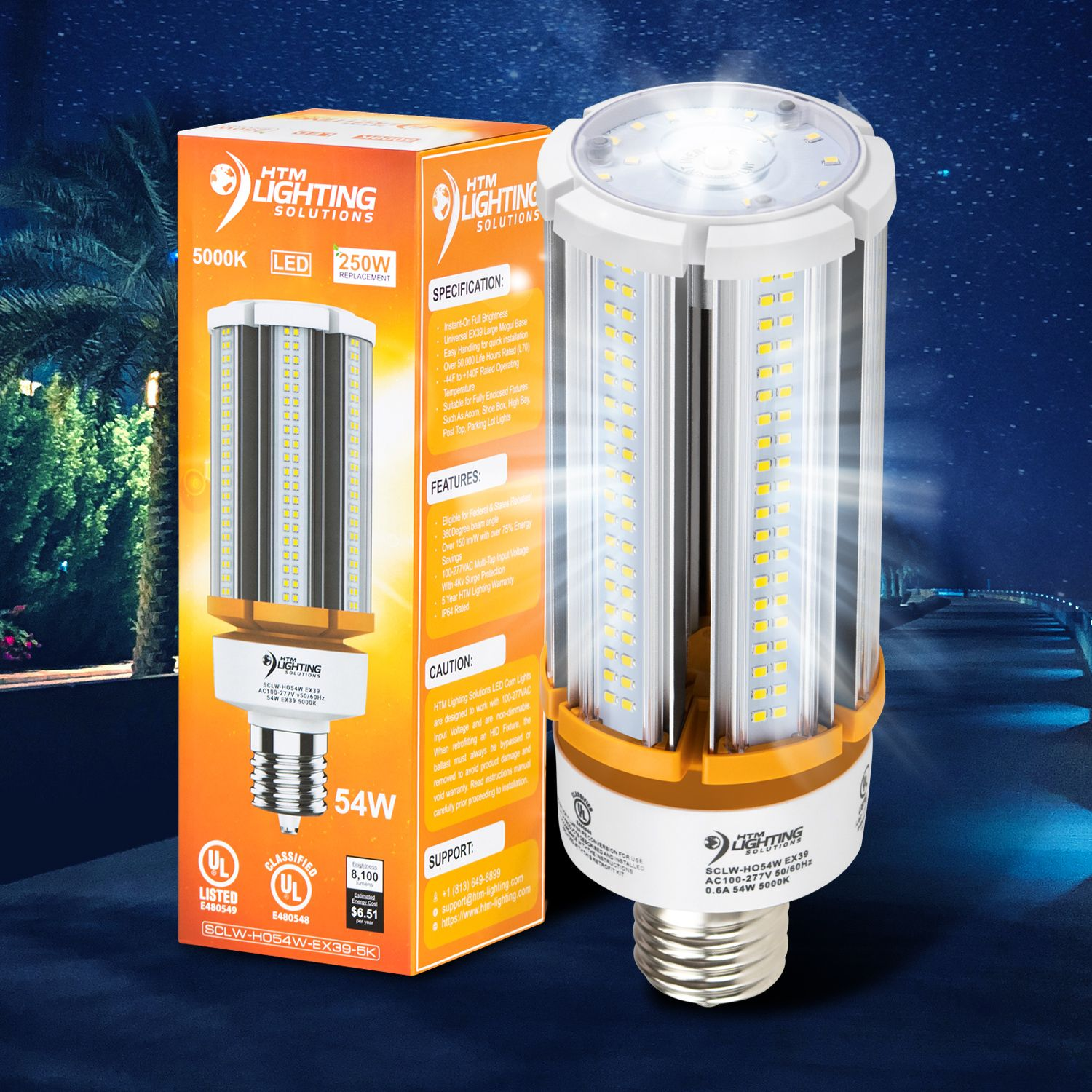 54w Led Corn Light Bulb 250w 300w Metal Halide Equal 8 100 Lumen 150lm W Ex39 Mogul Base Led Bulb Security Lights