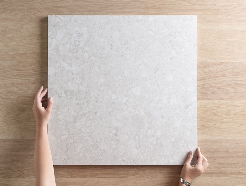Stiring Terrazzo Look White Matt Tile Tile Cloud Terrazzo Pink Bathroom Decor Stone Look Tile