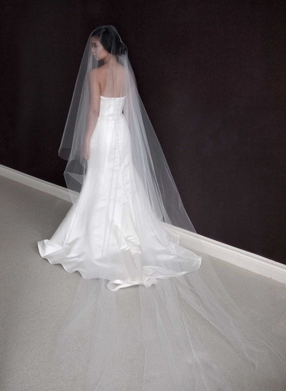 Beautiful Cathedral Length Drop Veil With Raw Cut Edge Of 110 And Width Blusher Made Soft Bridal
