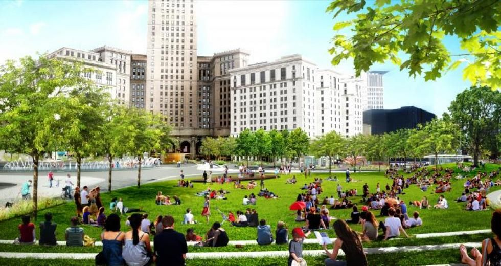 Event Lawn Rendering From Land Studio Public Square Urban Park Public