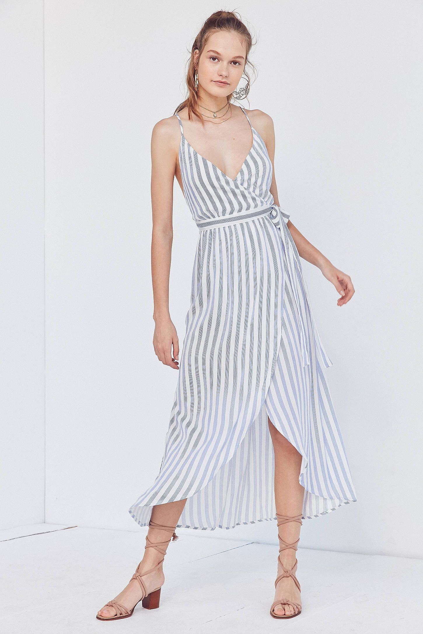 Slide View 1 Cooperative Striped Maxi Wrap Dress Maxi Wrap Dress Plunge Maxi Dress Fashion [ 2175 x 1450 Pixel ]