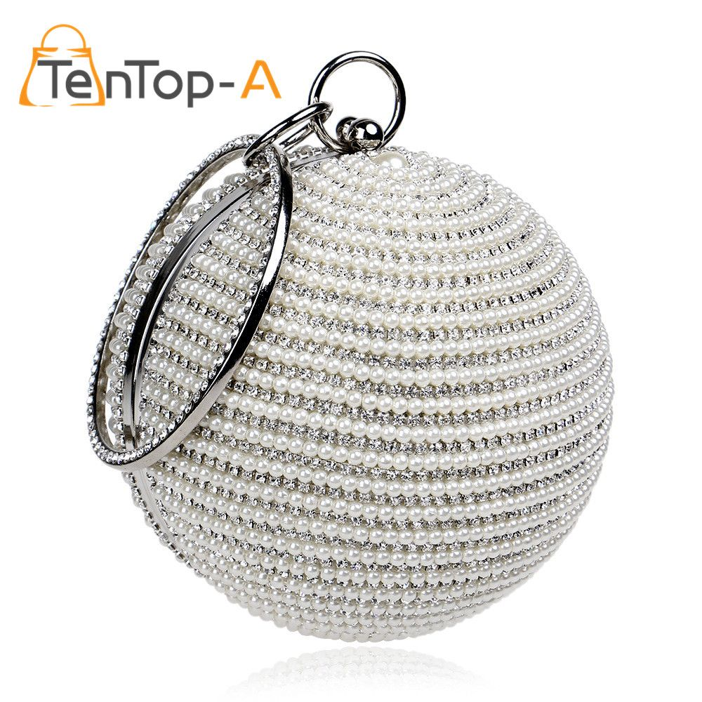 TenTop-A Best Price Women s Pearl Beaded Diamond Tellurion Evening Bag  Bridal Wedding Round Ball 364fc4964fc4