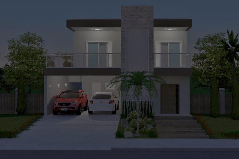 Plano de casa con piscina y terraza 3d varios y de noche for Planos de casas con piscina