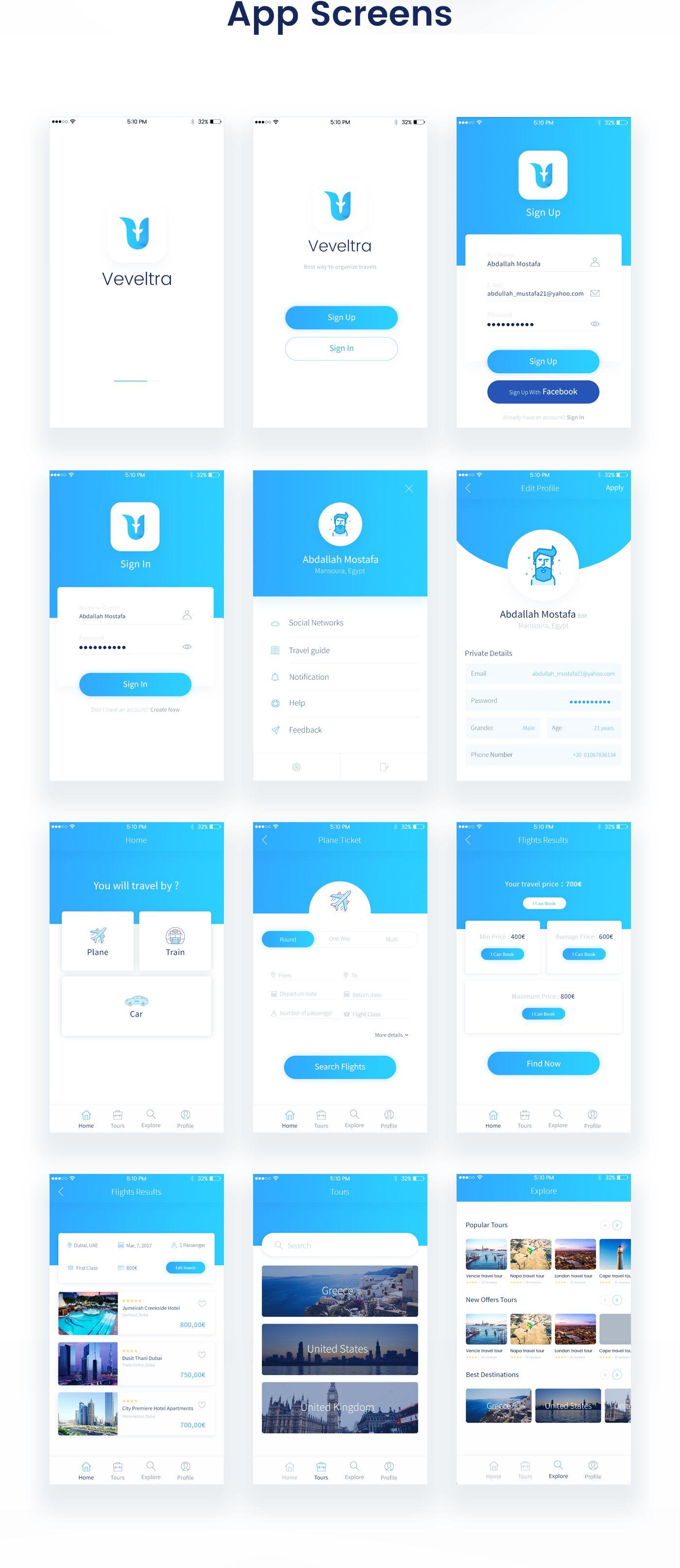 Veveltra App Design on Behance App design layout