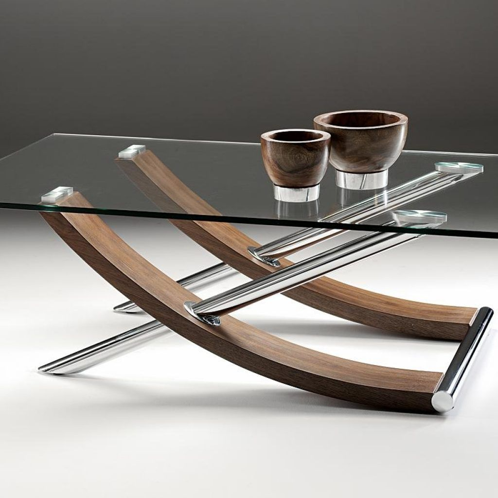 Glass Chrome And Wood Coffee Table Mebel Stol Derevo [ 1024 x 1024 Pixel ]