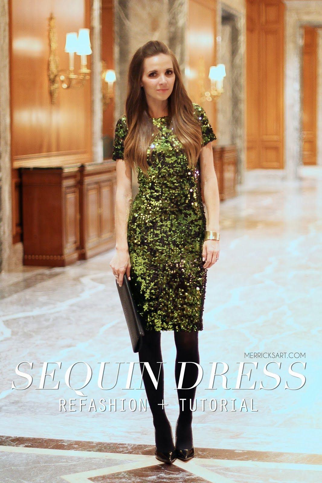 Merricks Art: SEQUIN DRESS REFASHION + TUTORIAL