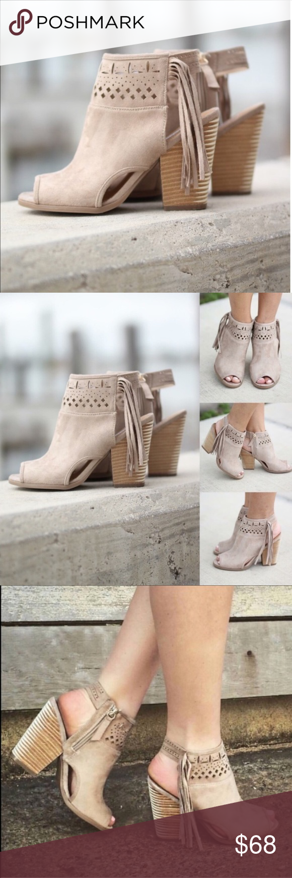 Suede Fringe Peep Toe Ankle Booties am loving these Cream Open Toe Fringe Booties They are simply adorable the perfect booties for any occasion The cream color and fringe...