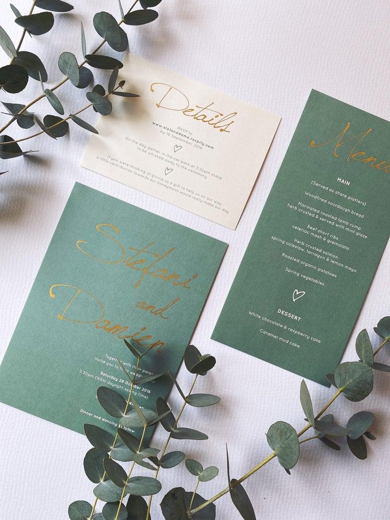 gold foiled sage green wedding invitation simple modern