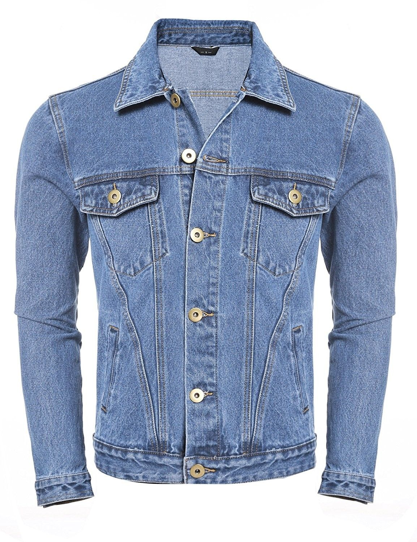 Men S Casual Unlined Jean Denim Jacket Classic Trucker Jacket Light Blue Ck184g8s9en Denim Jacket Mens Jackets Casual Mens Outerwear Jacket [ 1500 x 1154 Pixel ]