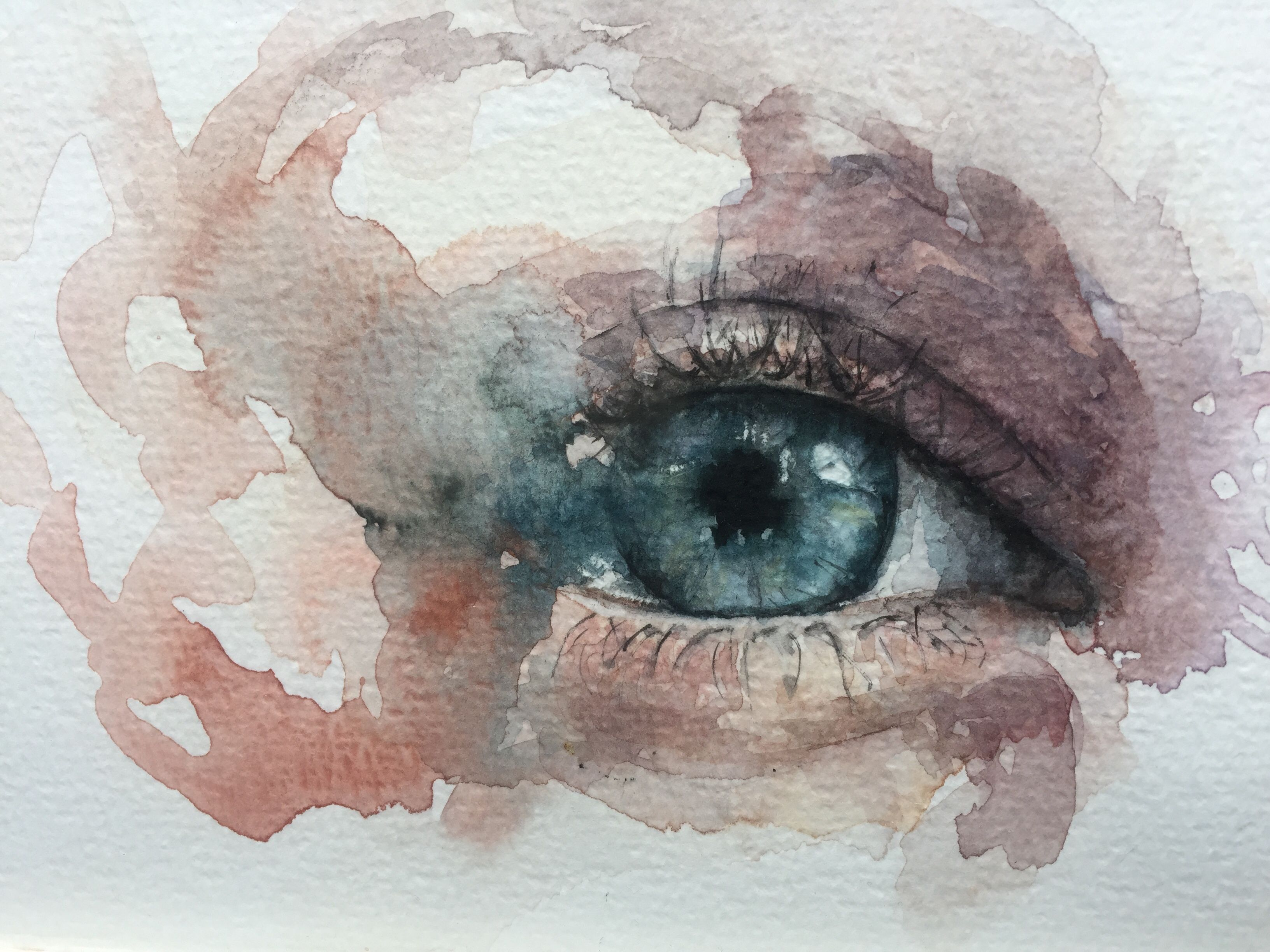 Eye Painting By Tugba Duymaz Watercolor Eye Blue