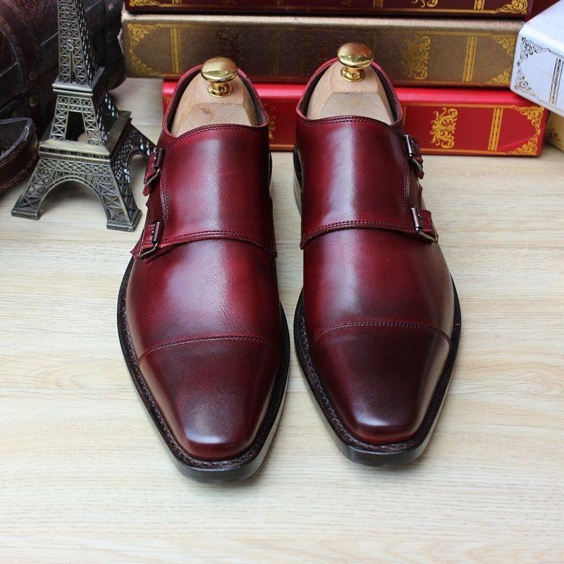 Custom Handmade Monk Leather Mens Dress Shoes Burgundy Color