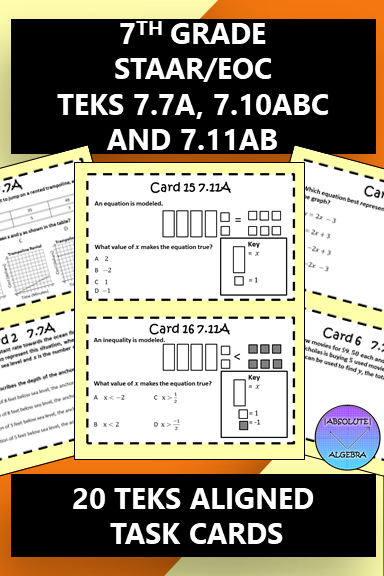 7th Grade STAAR EOC TEKS Aligned Task Cards 7 7 A, 7 10 A,B,C and