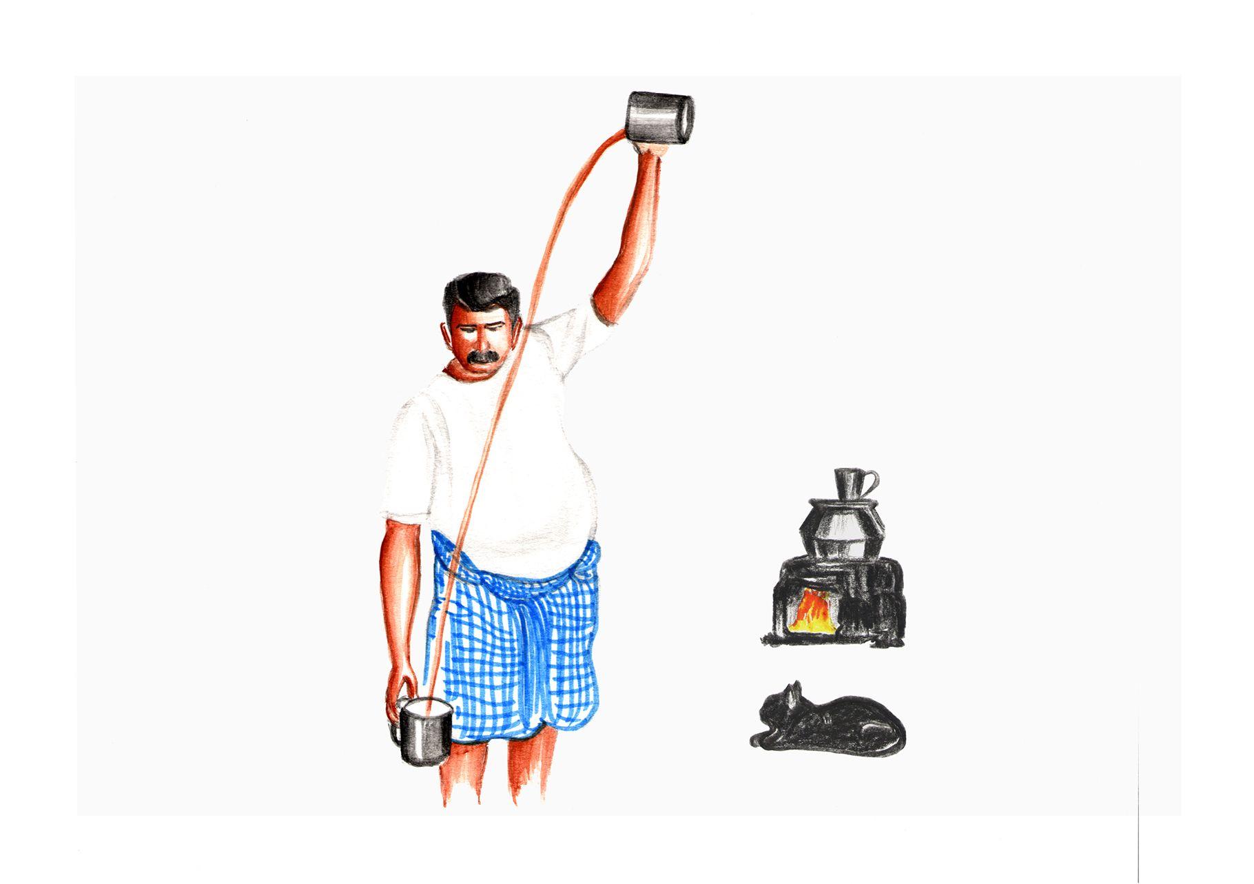 Art of Tea making | Chayakada, Illustrations of Kerala in