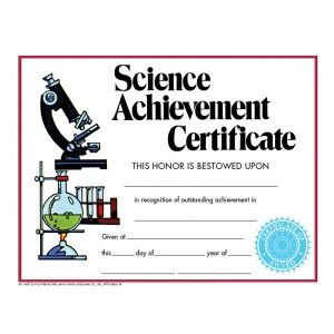 Science Achievement Certificate Va271cl Pack Of 30 8 5 X 11 Science Certificates Science Awards Award Template