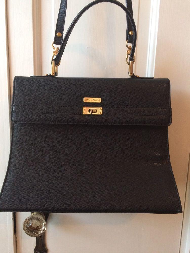 St John Black Kelly Crossbody Satchel Vintage Saffiano Leather Purse Handbag Stjohn