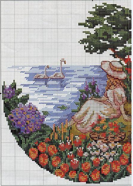Un gráfico redondo de una dama sentada en el lago:   Arte ...