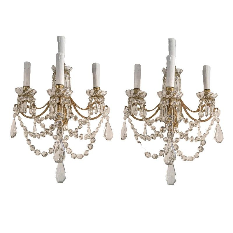 Late 19th Century French Four Light Sconces Bronze Crystal Beaded Wall Lamps A Pair In 2020 Crystal Beads Sconce Lighting Sconces