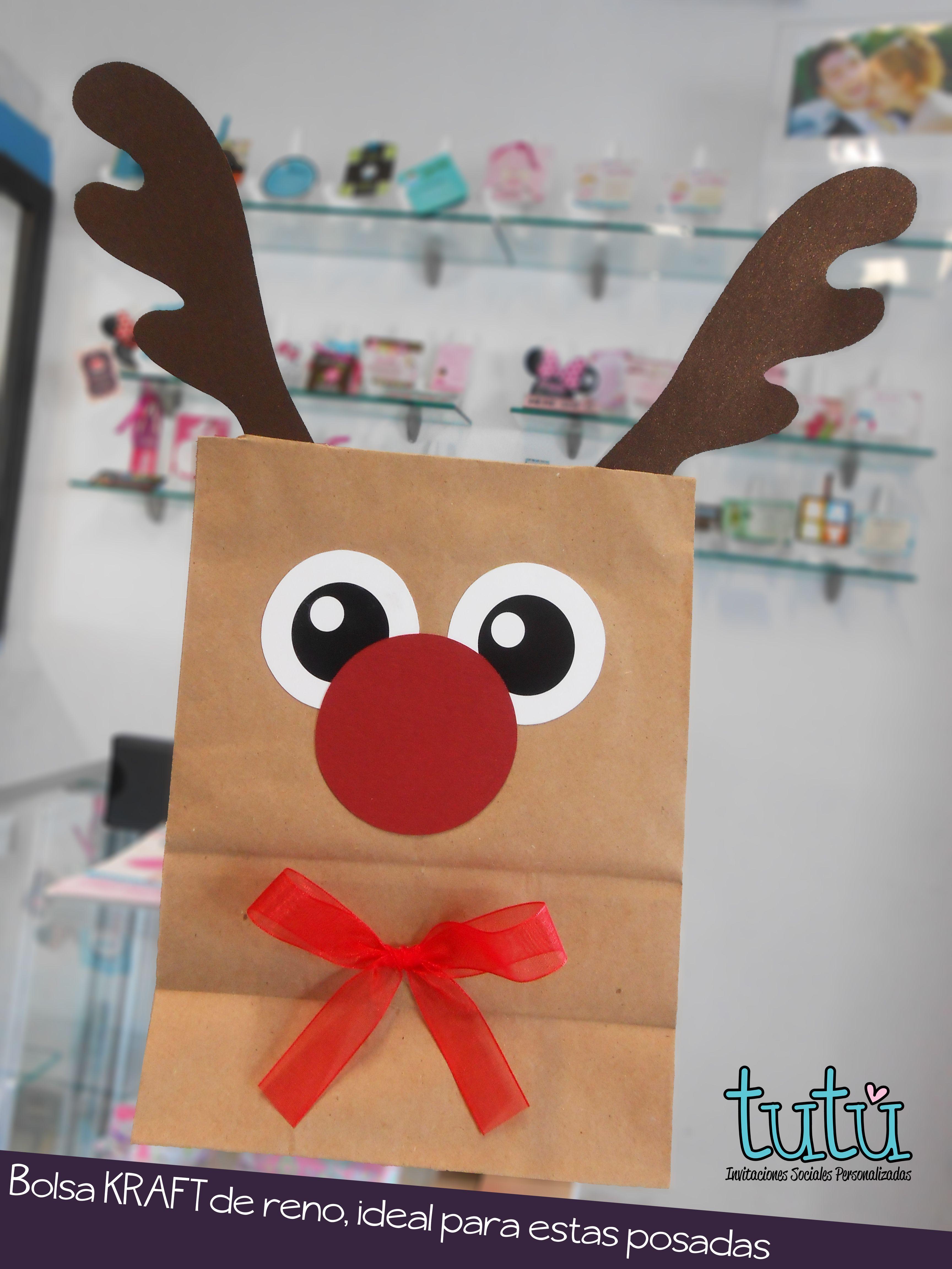 Bolsita Kraft Con Tema Reno Navideno Bolsas De Regalos De Navidad Manualidades De Carton Para Ninos Dulceros De Navidad