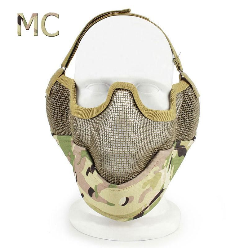 Tactifans Hunting Accessories Half Face Metal Mesh Mask Ear Protect