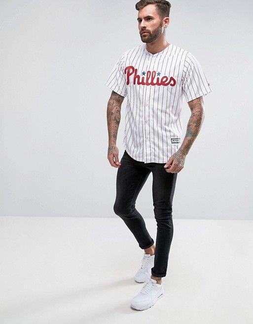 ef6c41d9e6e Majestic - MLB Philadelphia - Chemise en jersey style maillot de baseball  avec inscription Phillies